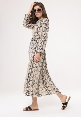 137e6fba25 Beżowa Ciemnobeżowa Sukienka Toxic