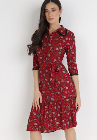 Czerwona Sukienka Calvados