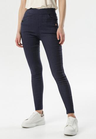 Granatowe Spodnie Jegginsy Petithilei