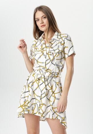 Biało-Żółta Sukienka Savalophi