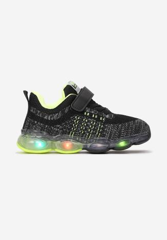 Czarno-Zielone Buty Sportowe  LED Limolea