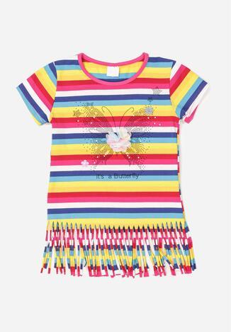 Różowo-Niebieska Koszulka Ilerianne