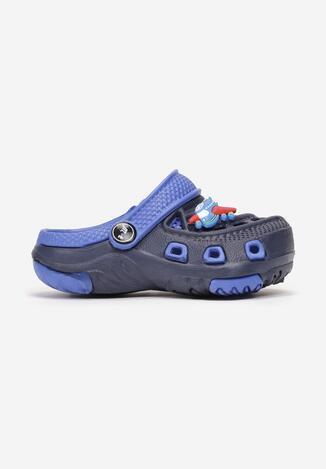 Granatowo-Niebieskie Klapki Delossa