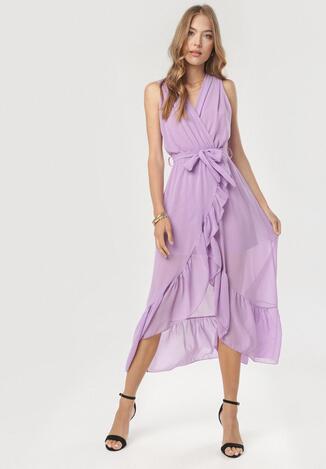 Fioletowa Sukienka Morecea