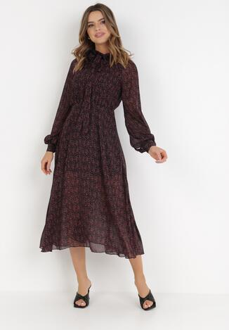 Czarno-Fuksjowa Sukienka Fenydark