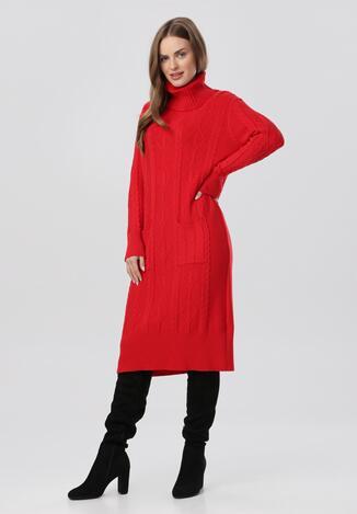 Czerwona Sukienka Dzianinowa Elinynore