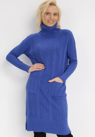 Niebieska Sukienka Dzianinowa Elinynore