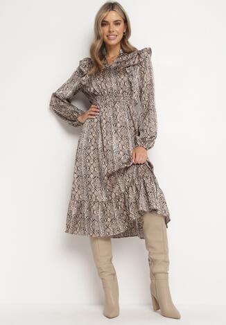Beżowa Sukienka Oatfall