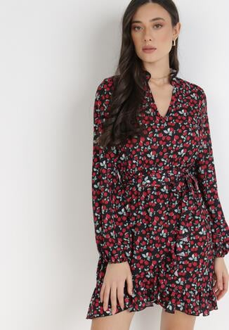 Czarno-Czerwona Sukienka Solidbeam