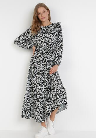 Czarno-Biała Sukienka Gloomdrifter