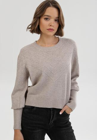 Beżowy Sweter Zaurg