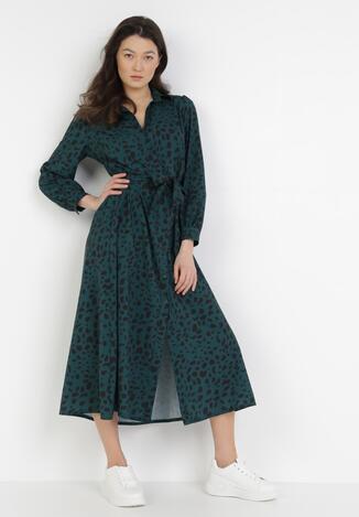 Ciemnozielona Sukienka Spiteteeth