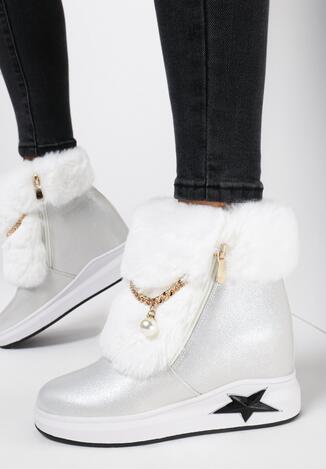 Białe Sneakersy Na Ukrytym Koturnie Cateva