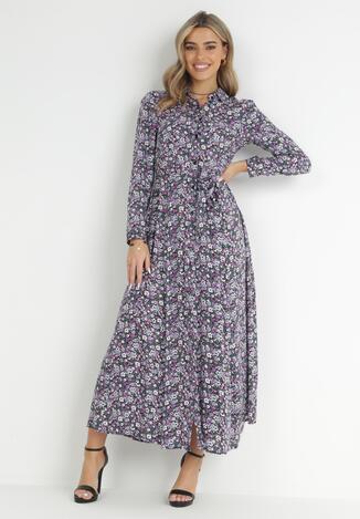 Granatowo-Fioletowa Sukienka Adrearith