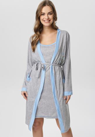 Szaro-Niebieska Koszula Nocna Ze Szlafrokiem Amythise