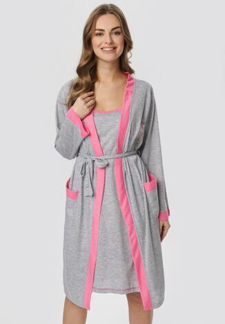 Szaro-Różowa Koszula Nocna Ze Szlafrokiem Amythise