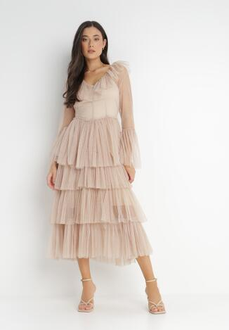 Beżowa Sukienka Guinemeda