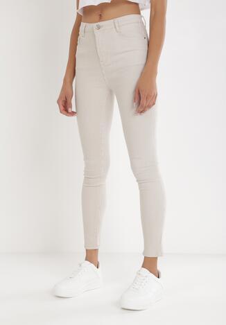 Jasnobeżowe Spodnie Skinny Themirose