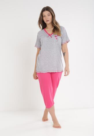 Różowo-Szary Komplet Piżamowy Genirissa