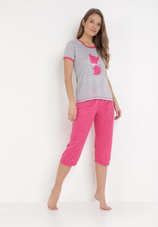 Szaro-Różowy Komplet Piżamowy Sabritea