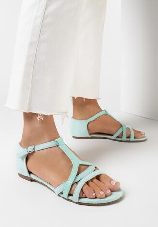 Miętowe Sandały Aelila