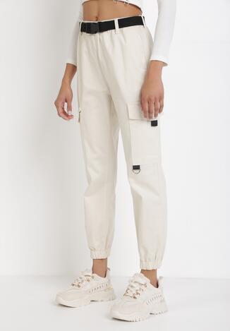 Białe Spodnie Joggery Vhesysh