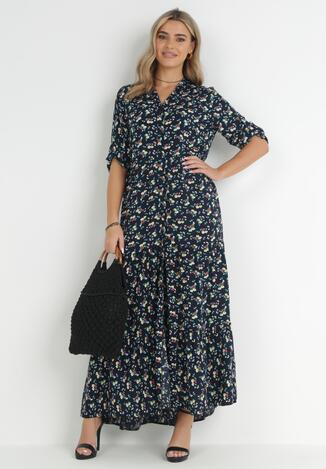 Granatowa Sukienka Gezuriya