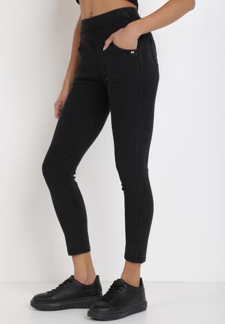Czarne Spodnie Skinny Salathiel