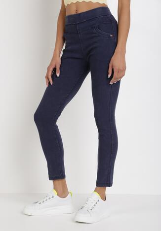 Granatowe Spodnie Skinny Salathiel