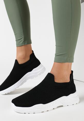 Czarno-Białe Buty Sportowe Perisesis