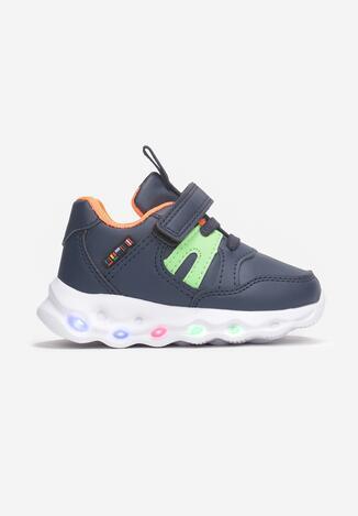 Granatowo-Pomarańczowe Buty Sportowe  LED Adraxie