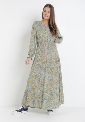 Niebiesko-Miętowa Sukienka Laomia