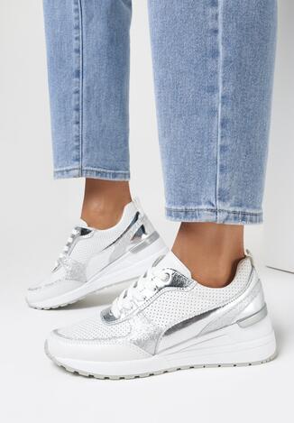 Biało-Srebrne Skórzane Sneakersy Killeern