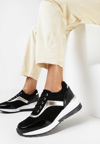 Czarno-Złote Skórzane Sneakersy Theanymes