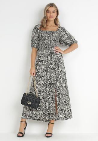 Czarno-Beżowa Sukienka Aramene