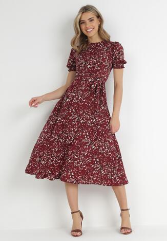 Bordowa Sukienka Shevia
