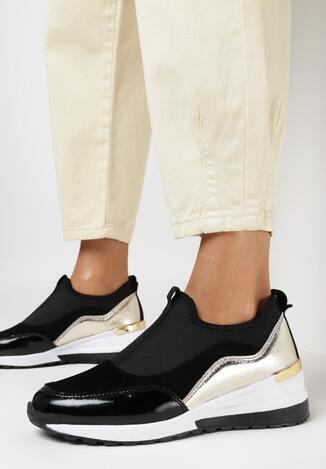 Czarno-Złote Skórzane Sneakersy Zooni