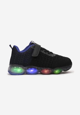 Czarno-Niebieskie Buty Sportowe LED Nethishia