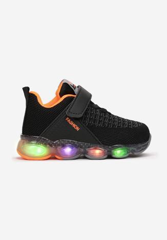 Czarno-Pomarańczowe Buty Sportowe LED Savarinix
