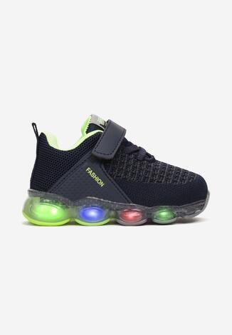 Granatowo-Zielone Buty Sportowe LED Savarinix