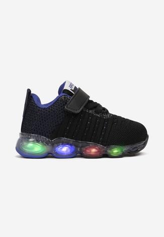 Czarno-Niebieskie Buty Sportowe LED Calyphishae