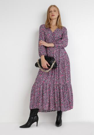 Granatowo-Różowa Sukienka Mystithis