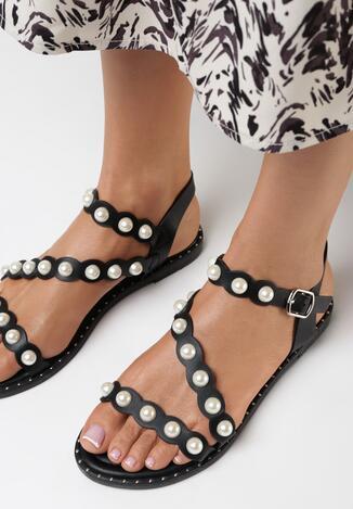 Czarne Sandały Acsixie