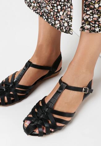 Czarne Sandały Rhenelacia