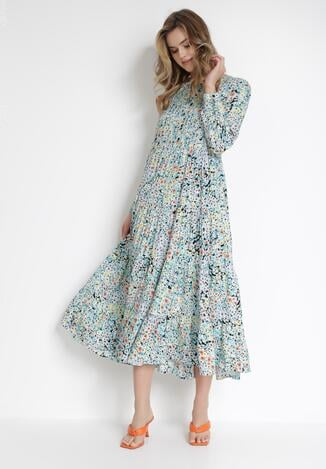 Czarno-Niebieska Sukienka Acosyxio