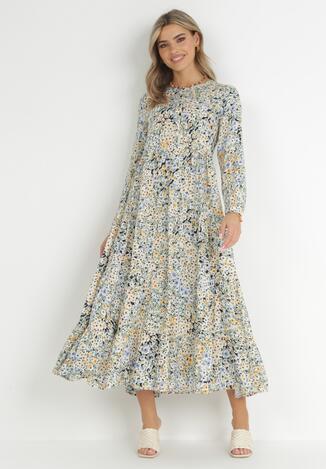 Granatowo-Miętowa Sukienka Acosyxio
