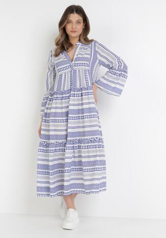 Biało-Niebieska Sukienka Theamessei
