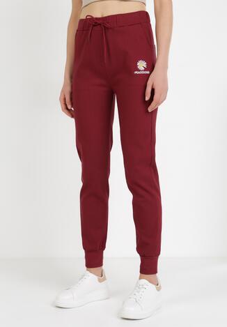 Bordowe Spodnie Joggery Nessnila