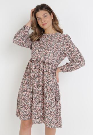 Brązowo-Różowa Sukienka Uhrsha