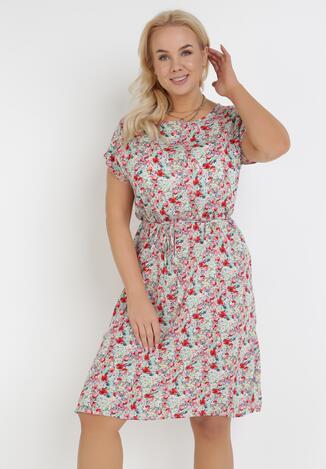 Miętowo-Różowa Sukienka Grynaris